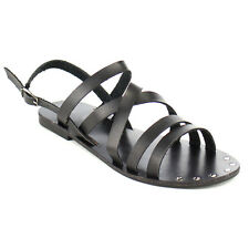 Fashion Focus EB86 Women's Criss Cross Strappy Buckled Slingback Flat Sandals