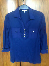 LAURA ASHLEY ROYAL BLUE TOP - SIZE 12 - MID LENGTH SLEEVES - GREAT CONDITION!!