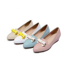 Cute Womens Flat Heels Shoes Shallow Mouth Pointed Bowknot Pumps US Size BD6211
