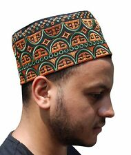 Tall Omani Arab Style African Kufi Hat Black Base Orange and Green Embroidery