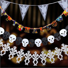 Scary Halloween Party Paper Garland Decoration Ghost Skull Halloween Props Decor