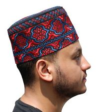 Tall Omani Arab Style African Kufi Hat Black Base Red and Blue Embroidery