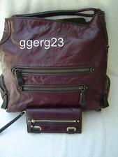 AUTHENTIC COACH CAMBRIDGE BURGUNDY LEATHER LARGE HOBO AND WALLET #14084 VGC