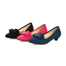 Cute Womens Flat Heels Shoes Shallow Mouth Pointed Bowknot Pumps US Size BD7330
