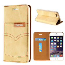 Floveme Denim Jeans Cloth Stand Wallet Pocket Case Cover For iPhone 6 6s Plus