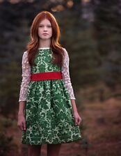 NEW Persnickety Clothing - Holiday Kate Dress in Green Girls sz 5 6 8