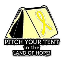 Yellow Awareness Ribbon Pin Pitch Your Tent in Land of Hope Camping Camper New