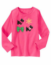 NWT Gymboree Girls Cheery All the Way Pink Scottie Snowflake Top Size 4 5 6 & 8