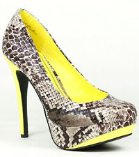 Brown Yellow Snake Skin Embossed High Heel Round Toe Platform Pump Anne Michelle