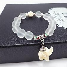 Women 10mm Crystal Beads Tibetan Silver Elephant Charms Beaded Bracelet Jewelry