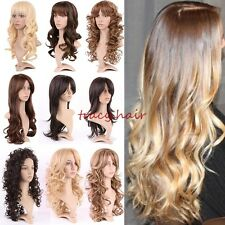 New Fashion Ombre Full Wig Natural Long Straight Curly Wave Heat Resistant Wigs