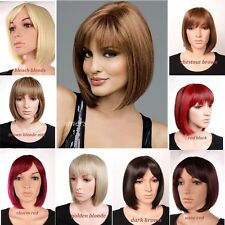 USA Popular Bob Wigs Multi Color Full Head Bangs Wig Short Hair for Daily Party