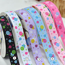 "5/50/100YDS 3/8"" 5/8"" 1"" 1.5"" lollipop printed gift grosgrain ribbon scrapbook"
