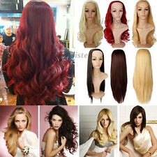 UK Ladies 3/4 Wig Fall Half Wig Clip In Hair Piece Long Curly Wavy Straight Wigs