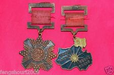 Two China Chinese KMT Air Force Army Medal Memorial