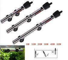 220v Submersible Stainless Steel Water Heater Rod Aquarium Fishes Tank 50W~500W