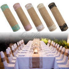 30*270cm  Natural Burlap Lace Table Runner Cover Wedding Party Home Decor Colors