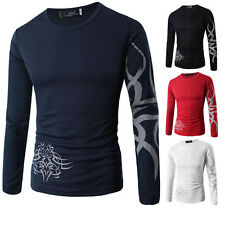 Graceful Mens Tattoo/Dragon Printed Short/Long Sleeve Crew Neck Tee T-Shirt Top