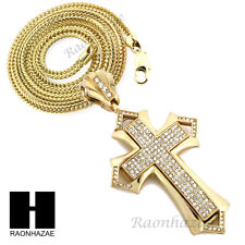 "Men Iced Out Lab Diamond Cross Pendant w 4mm 36"" Franco Chain Necklace FS017"