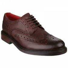 Base London FARADAY Mens Leather Classic Brogue Smart Formal Shoes Brown