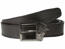 VERSACE COLLECTION Pebbled Leather Belt Black for Mens Half Medusa Buckle 72 NEW