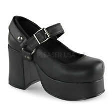 DEMONIA ABBEY-02 Women's Platform Chunky Heel Mary Jane Pumps BLACK New In Box