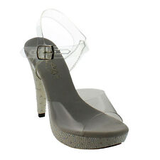 """FABULICIOUS COCKTAIL-508PRL Women's 5"""" Heel Ankle Strap Clear Sandals Sexy Shoes"""