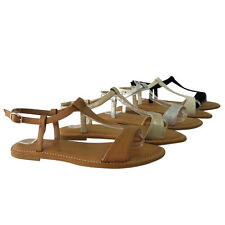 BAMBOO BAYSIDE-21S Women's Comfort T-Strap Sling Back Flat Sandals New In Box