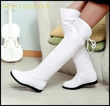 Hot Sale Womens Elegant PU Leather Knee Boots Wedge Cuffed Casual Boots Shoes OL