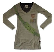 KISS Trunk LTD Army Shield Olive L/S Ladies Juniors Dress Tunic Shirt NEW