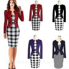 Womens Above Knee Fitted ladies office Elegant Summer Wiggle Vintage Dress Size