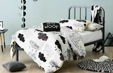 ADAIRS KIDS Storm Clouds SINGLE BED QUILT COVER SET + CUSHION black grey
