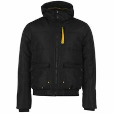 Everlast Mens Heavy Bomber Jacket Pockets Ribbed High Neck Full Zip Hooded Top