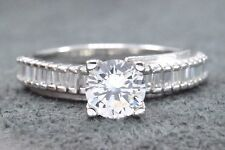Women's Diamond 1.25 ct Solitaire w/ Accents 14k Solid White Gold Ring