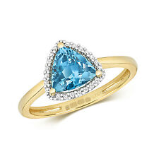 Blue Topaz and Diamond Ring Engagement Yellow Gold Halo Trillion Certificate