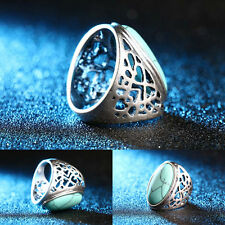 Retro Gorgeous Hollow Turquoise Rings Fashion Bohemian Jewelry Finger Band Ring