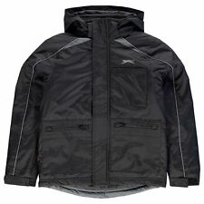 Slazenger Kids Panel Jacket Junior Boys Velcro Cuffs Warm Full Zip Hooded Top