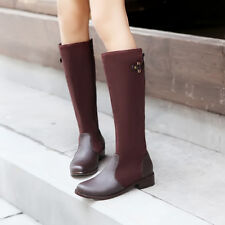 Cute Womens Low Heel Knee High Boots Shoes Zip Side Zip Comfy US Size BB5284