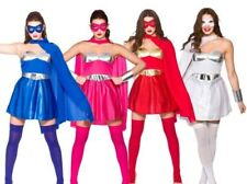 Ladies Super Hero Fancy Dress Costume Hot Hero + Cape Sizes 6-20