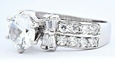 Modern Simulated Diamond 2.0 ct Solid 14k White Gold Engagement Ring