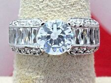Woman's New Modern 14k Solid White Gold Engagement Ring Simulated Diamond 2.5ct