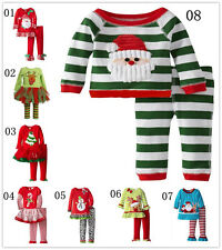 2PCS NWT Kids Boys Girls Christmas cartoon Holiday Party Tops +pants Clothes Set