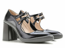 Prada block heels pumps in black Calf leather grey rubber sole Made in Italy