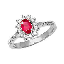 6x4mm Ruby Oval & 0.33ctw Diamond Ring White Gold UK Made to Order Sizes R-Z