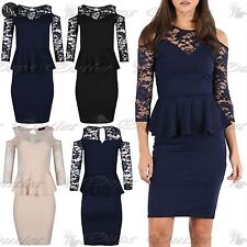 Womens Ladies Floral Mesh Lace Peplum Frill Keyhole Back Bandage Bodycon Dress