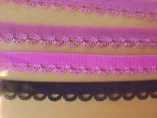 "Dainty Picot Edged Elastic 3/8"" Hot Pink or Pastel Lime 5yds. NEW"