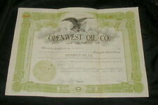 1918 OBSOLETE STOCK CERTIFICATE, OPENWEST OIL  CO. 20 SHARES, DEFUNCT FIRM