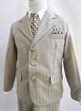 Toddler Teen Boy TAUPE /IVORY pinstripe recital prom wedding party formal suit
