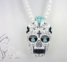 Fashion Quality Hip-Hop Skull Pendants Wood Rosary Bead Necklaces best gift 36""