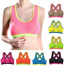 Women Seamless Sports Bra Padded Stretch Workout Fitness Yoga Tank Top Racerback